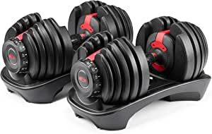 Bowflex SelectTech 552 Version 2 | Two Adjustable Medium Dumbbells | Black, Red & Grey