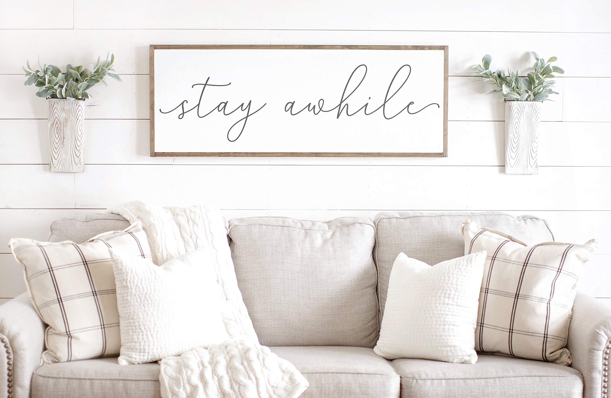 Bruyu5se Framed Wood Sign Rustic Wooden Sign Stay Awhile Sign Stay Awhile Wood Sign Living Room Wall Decor Living Room Signs Sage Green Sign Entryway Wood Sign 6 x 20 Inch Decorative Sign
