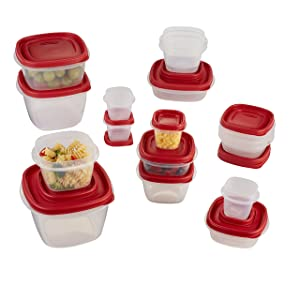 Rubbermaid Easy Find Lid 34-Piece Food Storage Container Set, Red