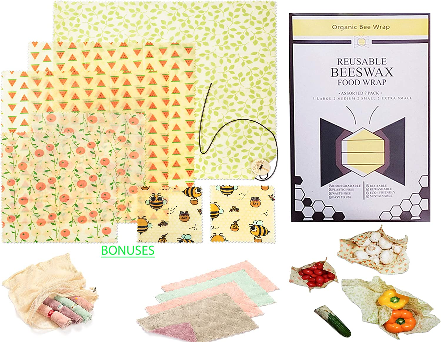 (13 pc. Bundle) Beeswax Food Wraps, Kitchen Cloths, Disposable Paper Straws and Cotton Mesh Produce Bags, Sustainable and Reusable Storage for Snacks, Sandwiches, Meals - Say Goodbye to plastic!