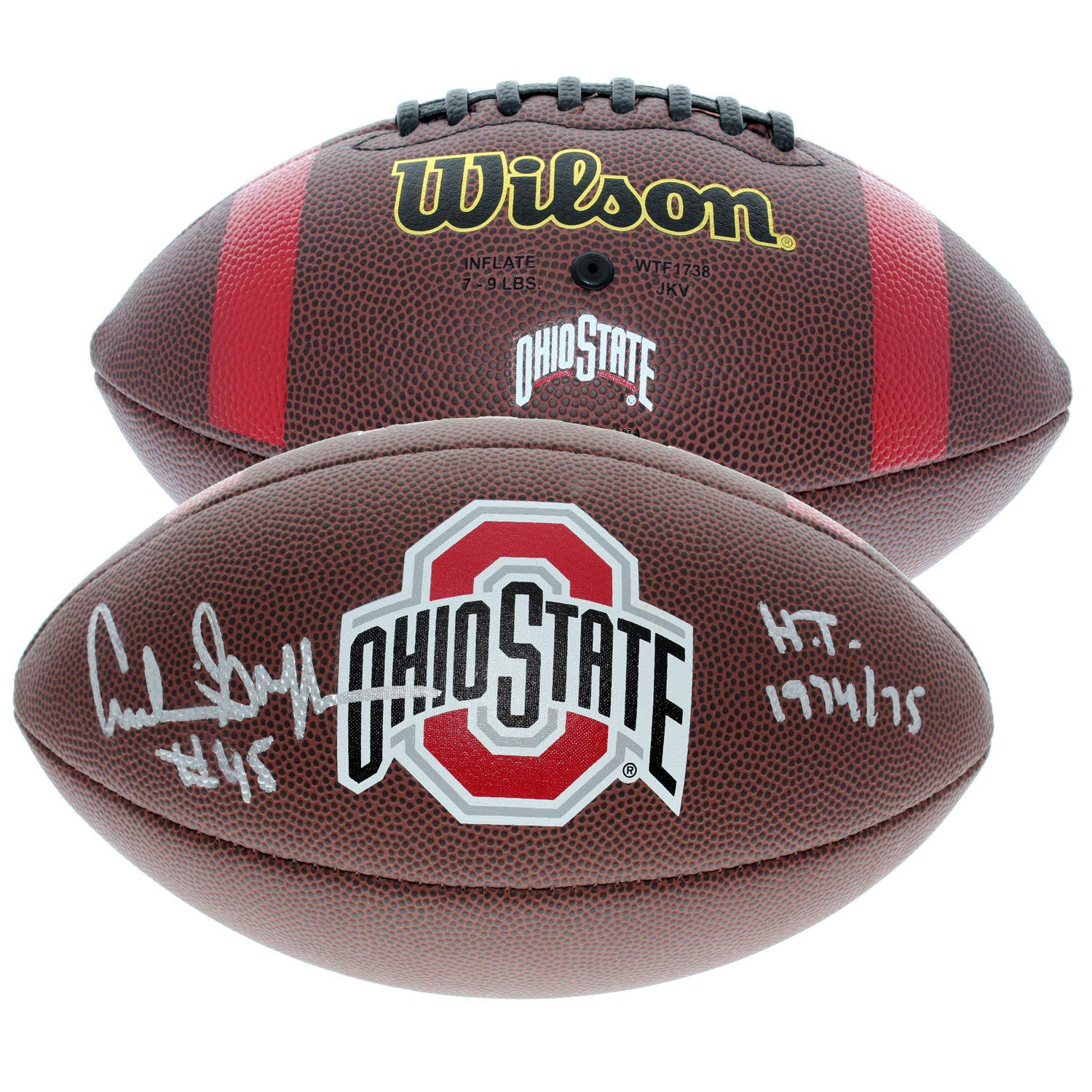 Archie Griffin Autographed Signed Ohio State Buckeyes Wilson NCAA Logo Football with H.T. 1974/75 Inscription - Certified Authentic