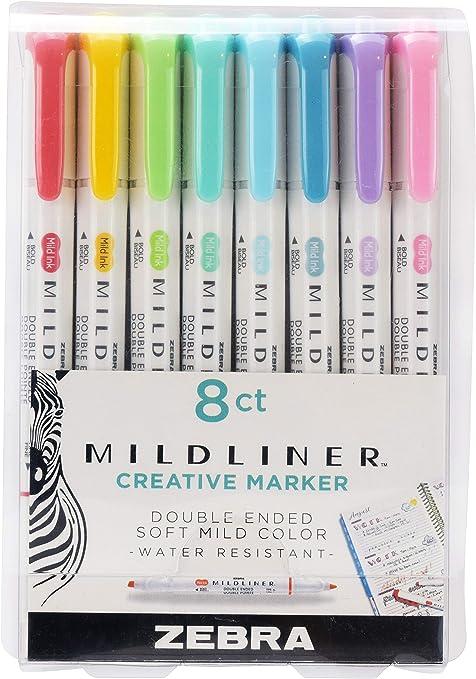 Fluorescent Colours Zebra Mildliner Double-Ended Highlighters Wallet of 5