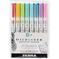 Zebra Pen Mildliner Double Ended Highlighter Set, Broad and Fine Point Tips, Assorted Ink Colors, 8 Pack (78108)