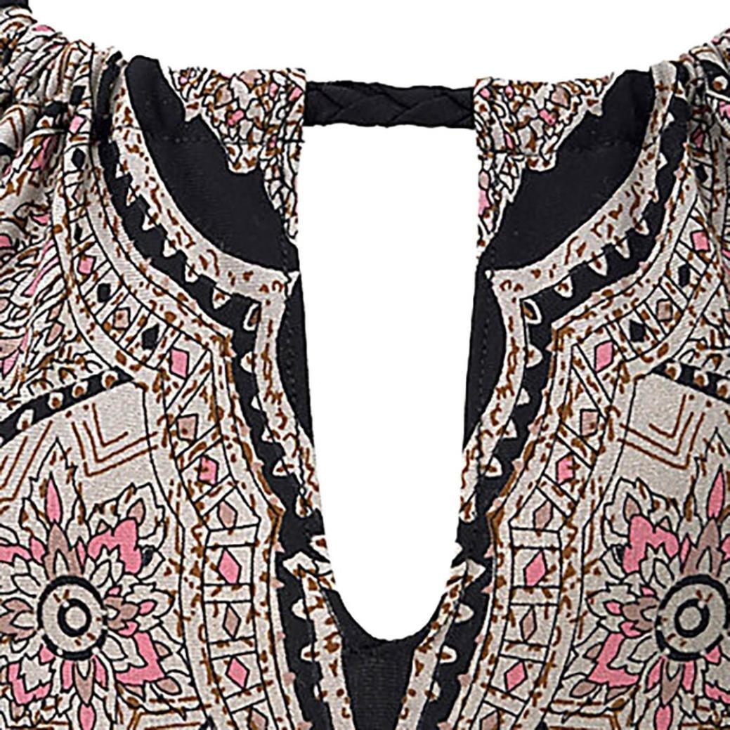Kinrui Women Dresses,Ladies Halter Neck Boho Print Sleeveless Casual Mini Beachwear Dress Sundress (Black, XL) by Kinrui (Image #4)