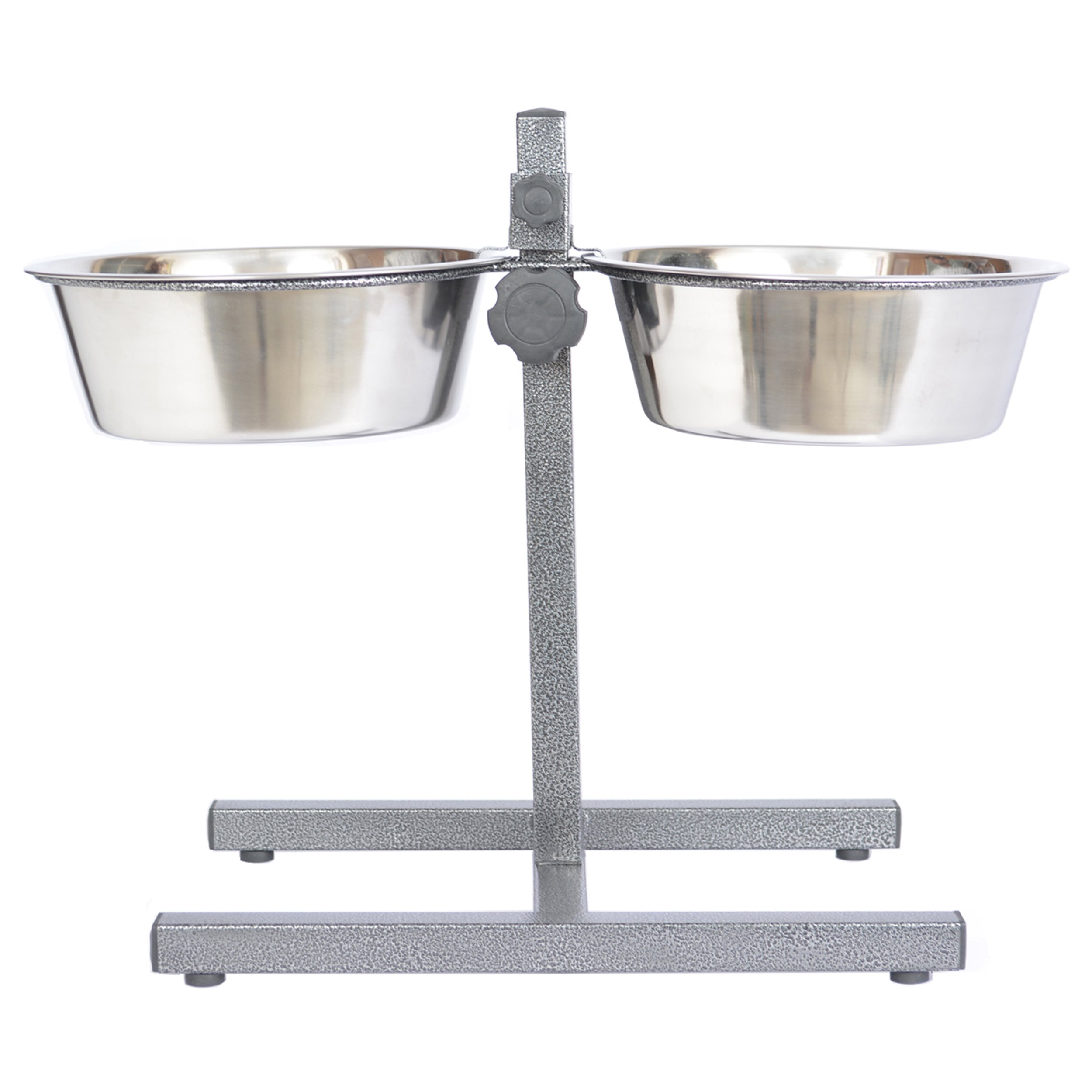 Iconic Pet 12-Cup Adjustable Stainless Steel Pet Double Diner, 96-Ounce