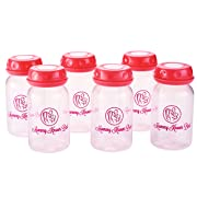 Breastmilk Storage Bottles Collection - Set of 6 - 5 oz/147mL Breast Milk Storage Bottle Include Cap and Disc - Nipples Not Included