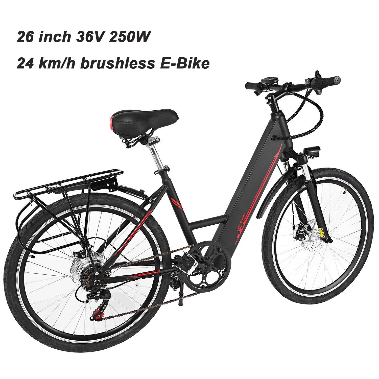 AIMADO Bicicletas Electricas de Montaña Nieve Ruedas de 26 Pulgadas 250W 24KM/h, E-bike MTB, con Pantalla LED Batería 36V 6 Velocidades Luz LED Delantera 2 ...