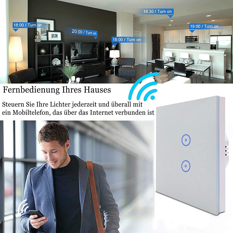 Interruptor t/áctil Inteligente de la UE Compatible con Alexa//Google Home Control de voz Desarrollado por Tuya Control Remoto Jinvoo WiFi Smart Light Switch 2 Gang