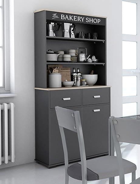 Credenza alta da cucina a 2 ante e 2 cassetti, colore: grigio ...