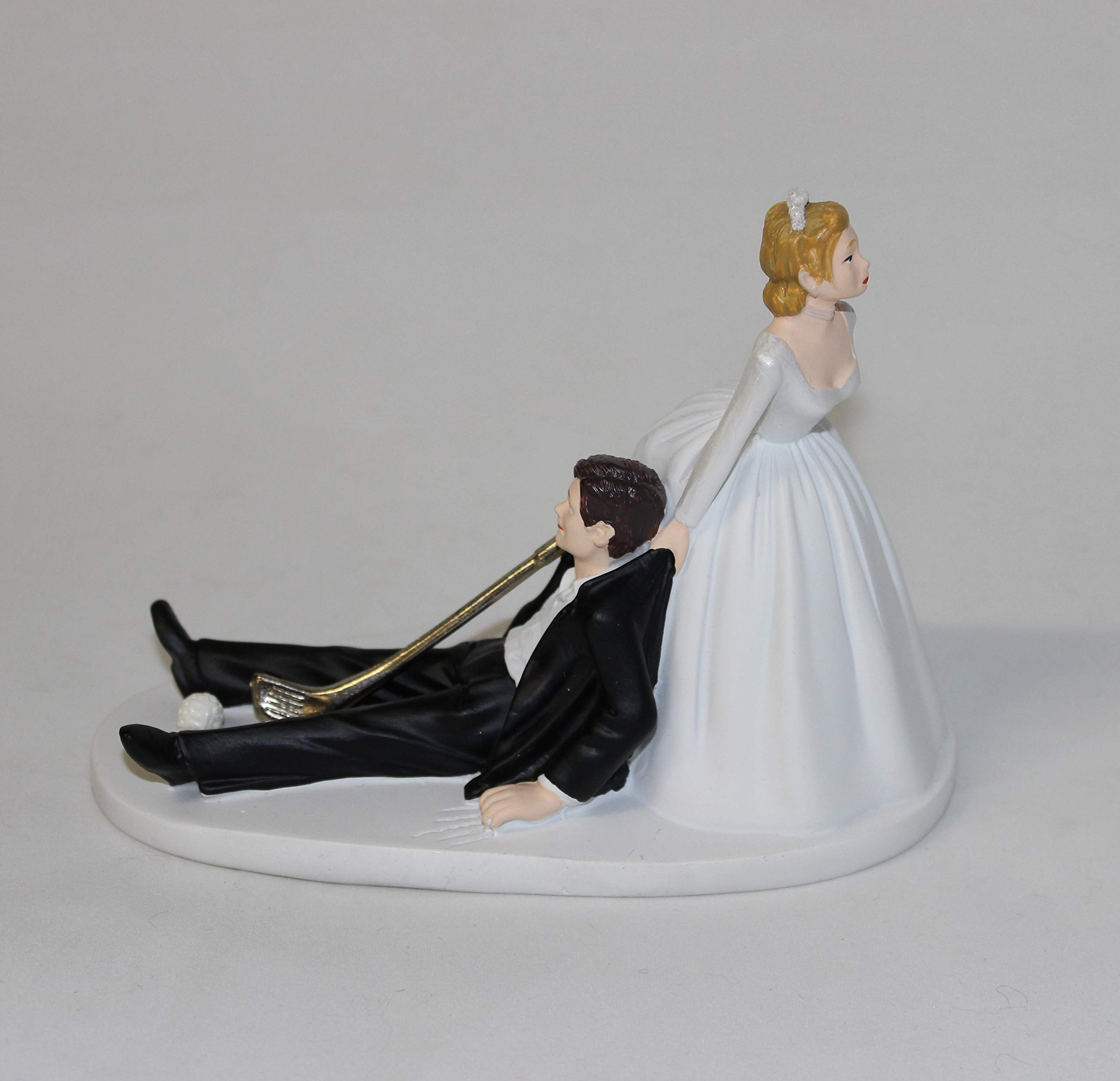 Wedding Party Reception Golf Golfer Clubs Bride & Groom Cake Topper