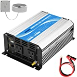 Power Inverter Pure Sine Wave 600Watt 12V DC to 110V 120V with Remote Control Dual AC Outlets and USB Port for CPAP RV…
