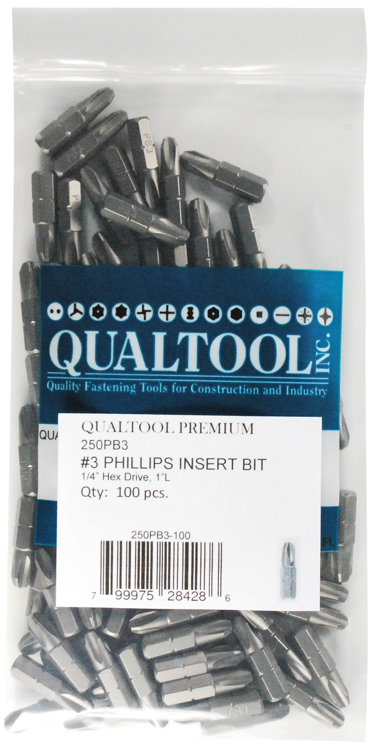 Qualtool Premium 250PB3-100 1/4-Inch Hex Drive Size 3 Phillips Insert Bit, 100-Pack by QUALTOOL PREMIUM