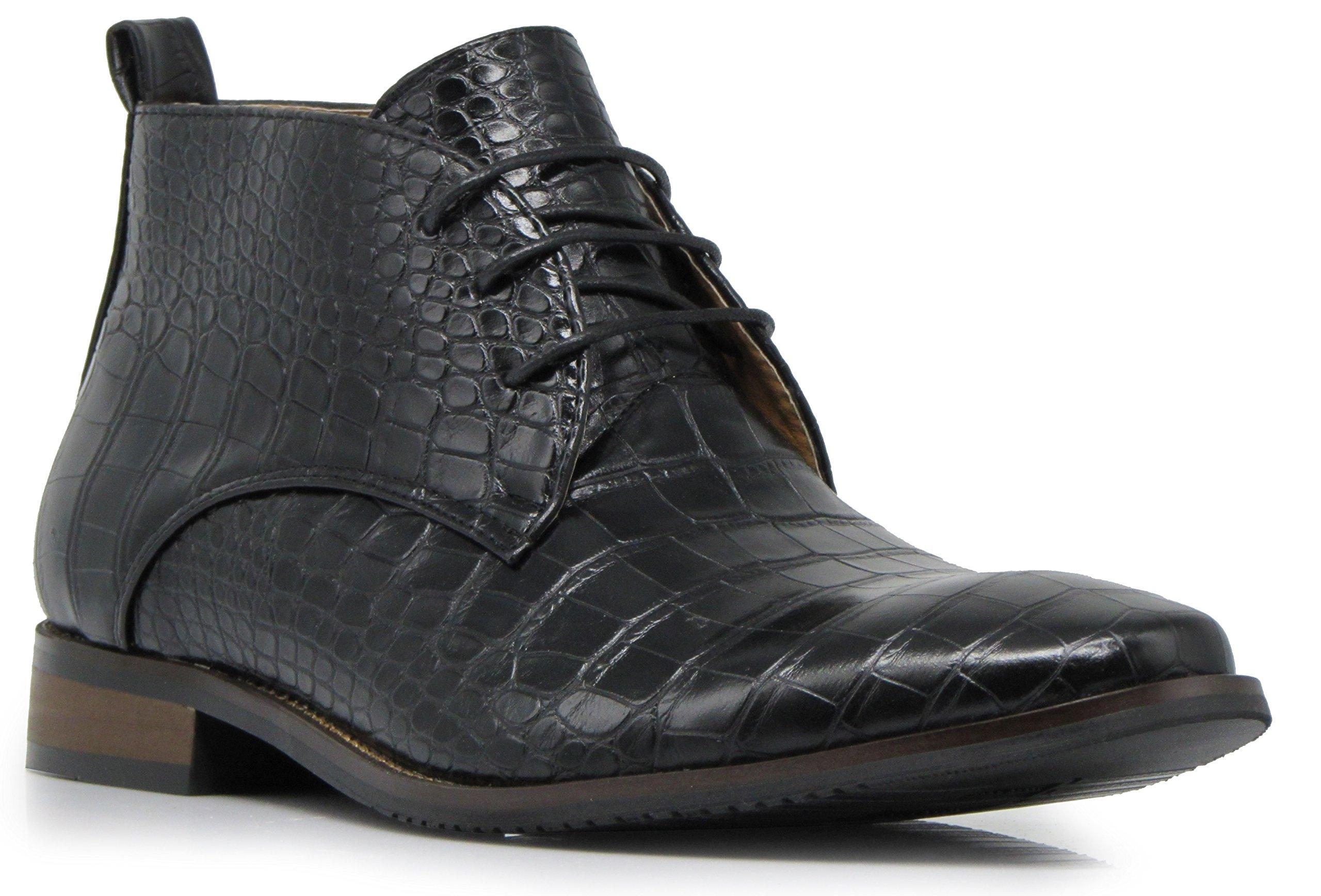 Enzo Romeo DF2 Men's Dress Boots Alligator Crocodile Print Chelsea Chukka Ankle Lace up Fashion Short Boots (9 D(M) US, Black)