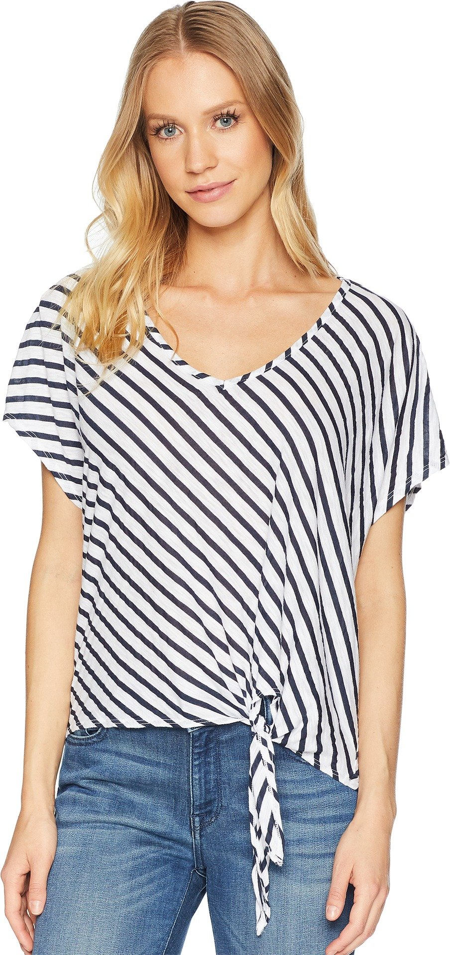 Michael Stars Women's Rivera Stripe Soft V-Neck Top with Front Tie White One Size