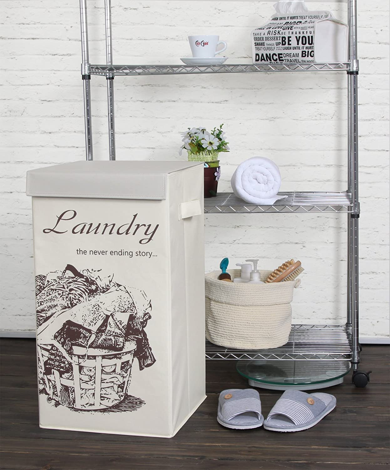 Foldable Clothes Hamper Closet Bathroom or Bedroom Collapsible Flip Top Laundry Basket with Lid and Handles for Nursery ITIDY Laundry-Hamper Brown with Beige Lid