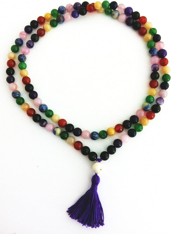 108 cuentas piedras preciosas en Chakra Mala repitiendo colores