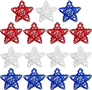 STMK 15 Pcs 4th of July Star Shaped Rattan Balls Decoration, 3.5 Inch Red White and Blue Star Shaped Wicker Balls for 4th of July Home Decor DIY Vase Bowl Filler Ornament Wedding Table Decoration