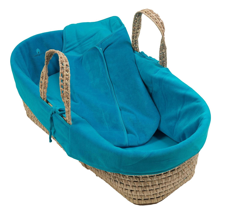 Despertar y Naturaleza - Mimbre Moisés Basket y algodón orgánico Coral azul (Lagon) Talla:45 x 85 x 25 cm Eveil et Nature 6000-LAGON