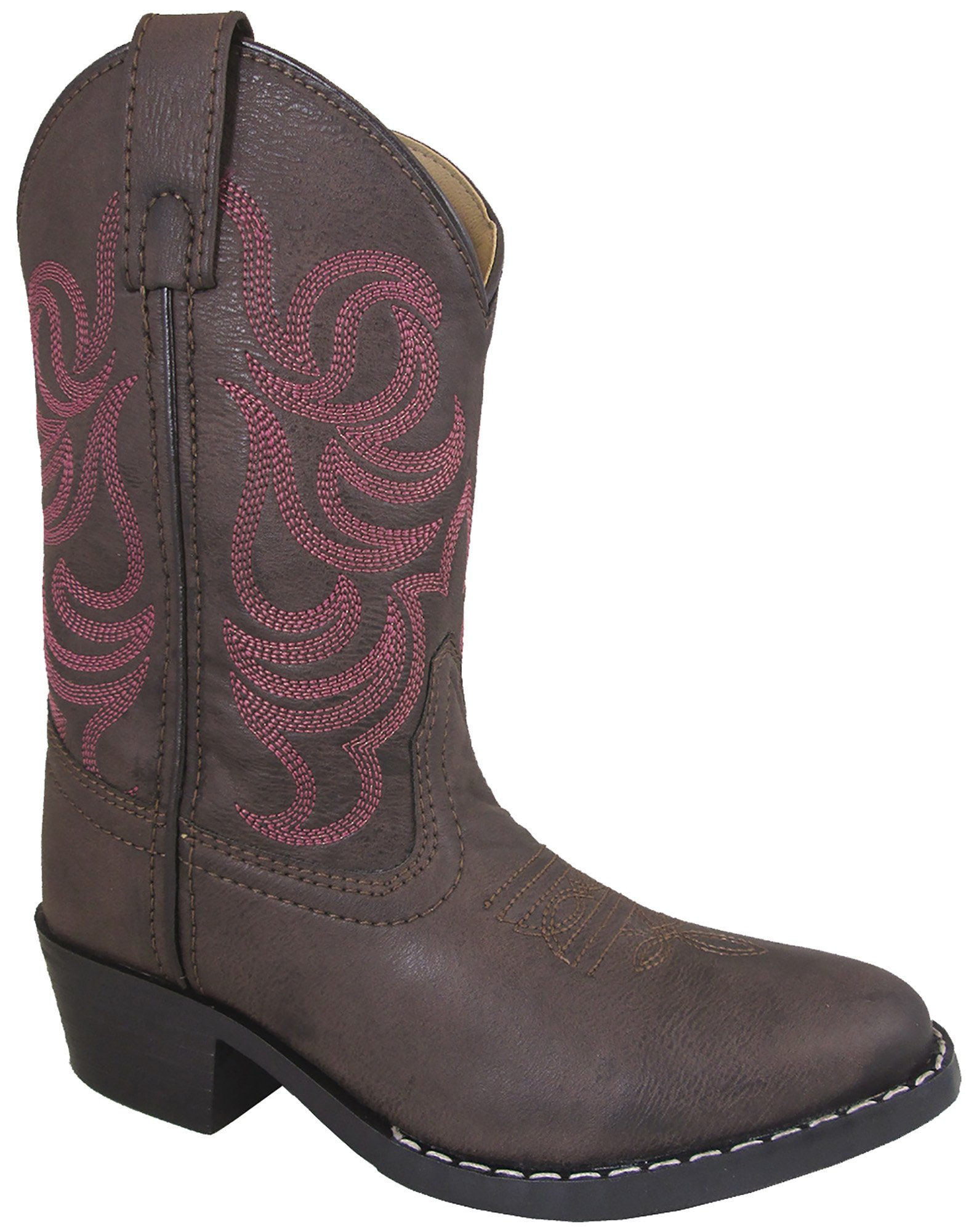 Smoky Mountain Girls Brown with Pink Stitch Monterey Western Cowboy Boots Brown 6.5