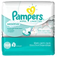 Pampers Baby Wipes Sensitive 3X Pop-Top Packs, 168 Diaper Wipes