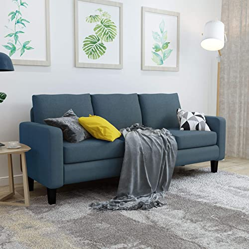 Mecor Modern 3 Seater Sofa Couch Linen Fabric Sofa w/Thick Cushion and Deep Seat Mid-Century Upholstered Accent Arm Sofa Loveseat