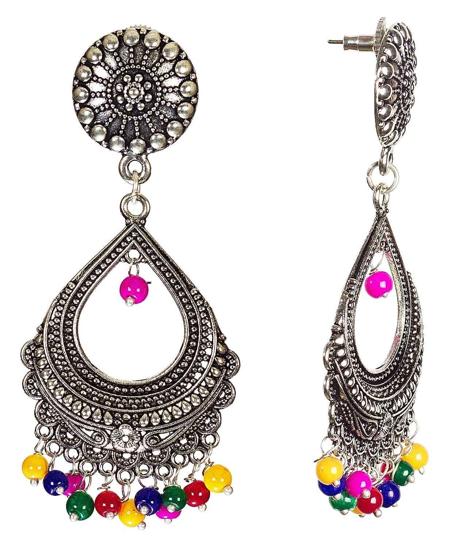 DESI HAWKER Silver Oxidized Earring Bali Jhumki Jhumka Jewelry Bollywood Long Drop Dangle Hoop Chand Bali NI-45