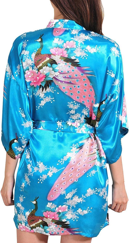 DELEY Donna Vestaglie in Raso Esotici Pavone /& Fiori Kimono Corto Accappatoio Pigiameria