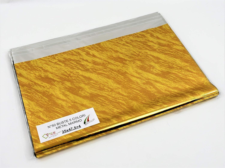 MULTICOLOR METAL, 60x80 pz 20 MISURE e QUANTIT/À con o senza STRISCIA ADESIVA BUSTE REGALO in CONFEZIONI ASSORTITE VARI COLORI