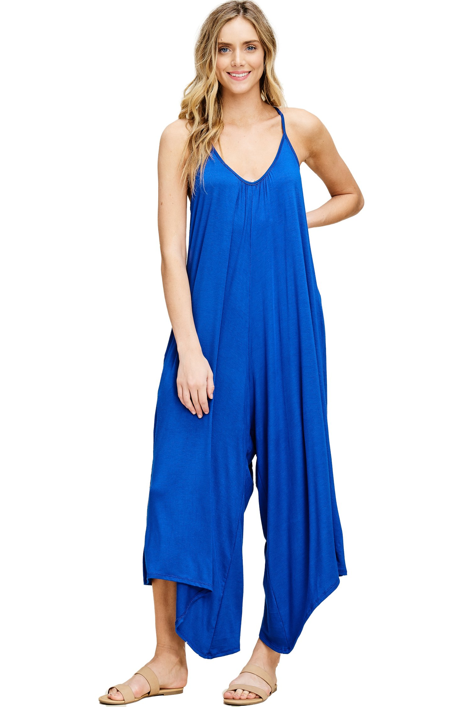 Annabelle Women's Asymmetrical V Neck Loose Fit Side Pocket Comfy Overall Jumpsuit Rompers Small Royal Blue J8030