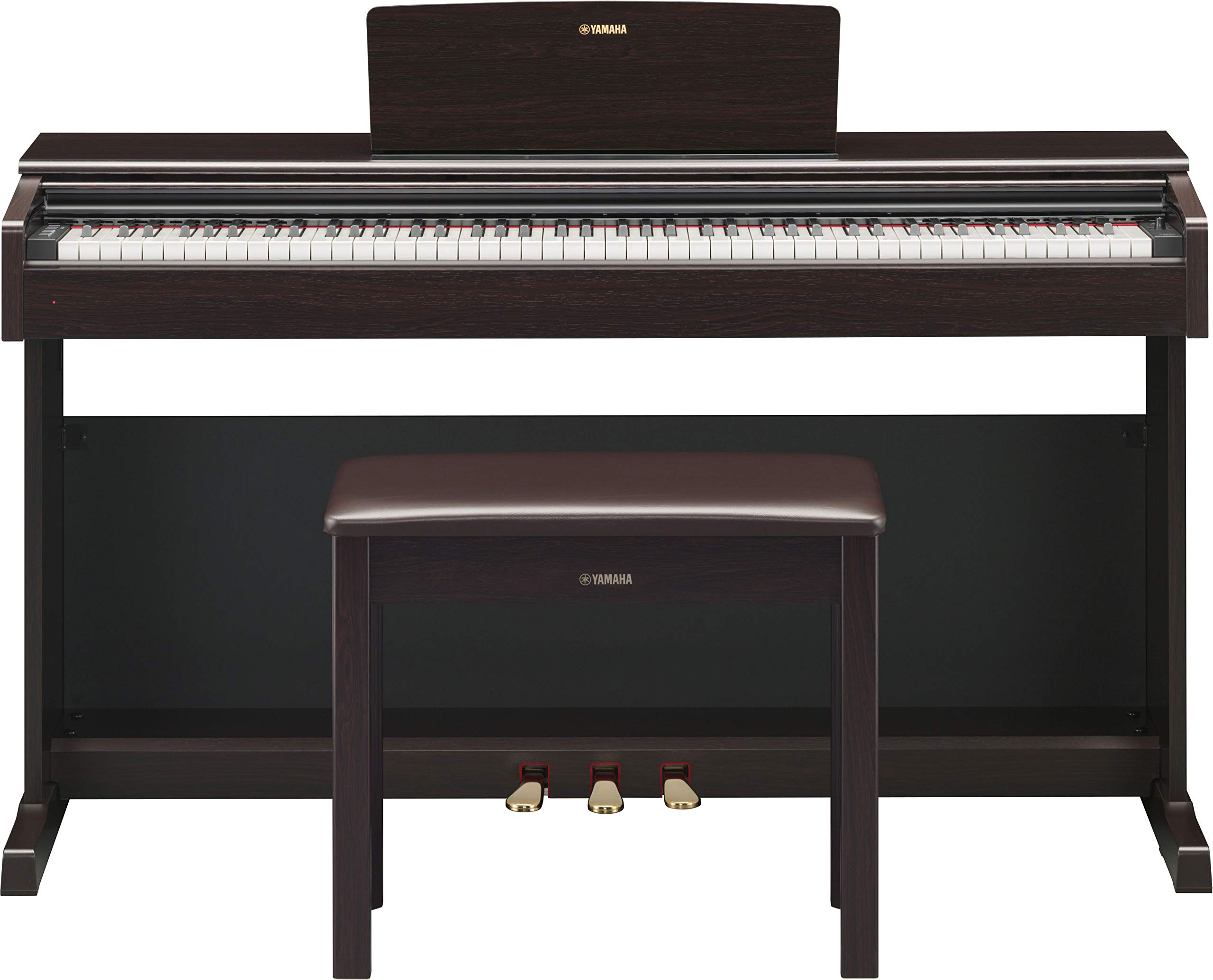 Yamaha Arius YDP-144 Traditional Console Digital Piano - Rosewood Bundle with Furniture Bench, Headphones, Fast Track Music Book, Online Lessons, Austin Bazaar Instructional DVD, and Polishing Cloth by Yamaha (Image #2)