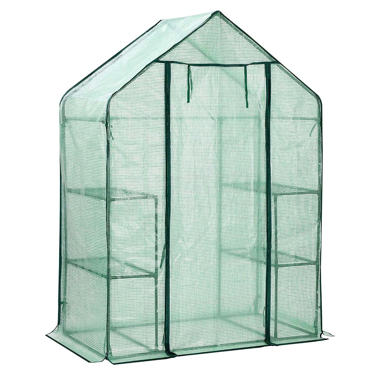 Verduras jard/ín Invernadero de pl/ástico con 4 estantes 143 x 73 x 195 cm semillero Invernadero con Puerta para enrollar caseta de Tomates SONGMICS GWP11GN Color Verde Exteriores