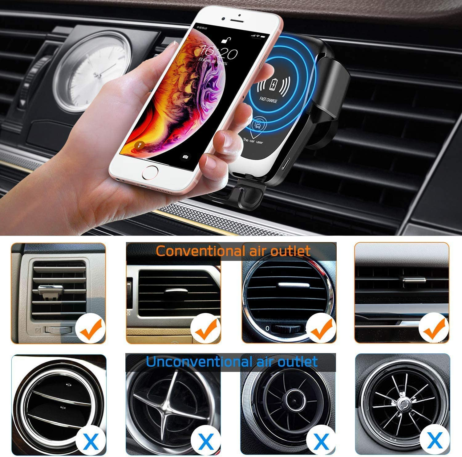 10W Fast Charging for Samsung Galaxy S8//S9//S7//Note 8 7.5W Compatible with iPhone Xs//XR//X//8 and Qi Enabled Devices Wireless Charger Car Mount One-Hand Auto Clamping Air Vent Phone Holder