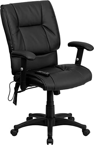 Flash Furniture Mid-Back Ergonomic Massaging Black Leather Executive Swivel Office Chair with Adjustable Arms