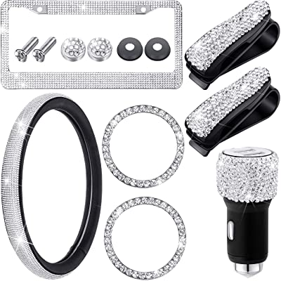 7 Pieces Rhinestone Car Accessories Set Included Universal Steering Wheel Cover, License Plate Rhinestone Frame, Car Dual Port USB, 2 Pieces Car Sunglasses Clip Holders, 2 Pieces Ring Emblem Stickers: Automotive [5Bkhe2012183]