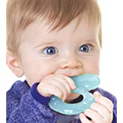 Nuby Silicone Teethe-eez Teether with Bristles, Includes Hygienic Case, Aqua