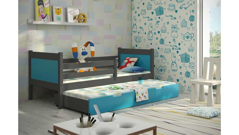 JUSTyou Leon Cama Nido Doble Juvenil 2 Camas (LxBxH): 190x85x75 cm Gris Grafito Verde: Amazon.es: Hogar