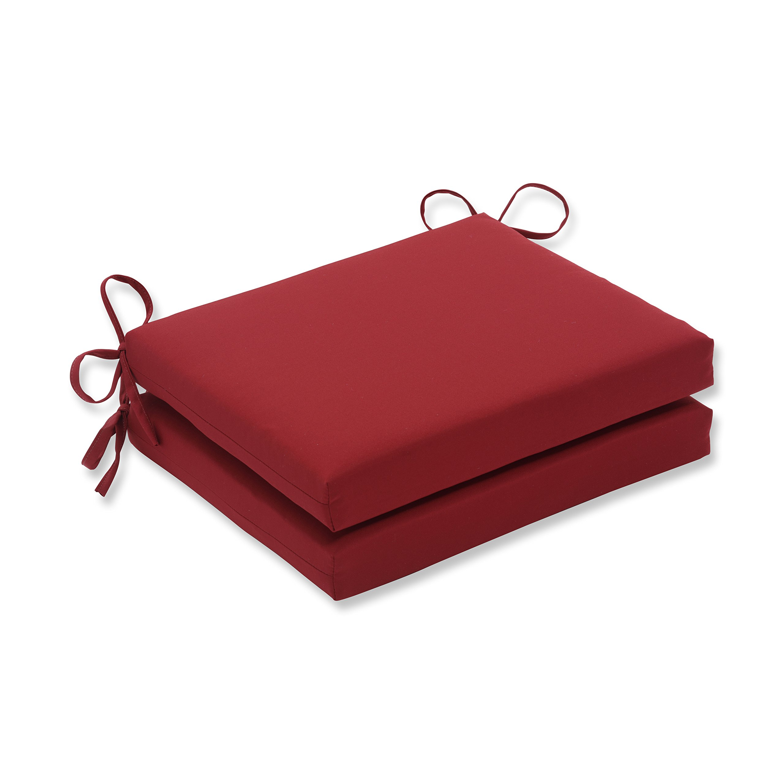 Pillow Perfect Indoor/Outdoor Red Solid Seat Cushion Squared, 2-Pack by Pillow Perfect
