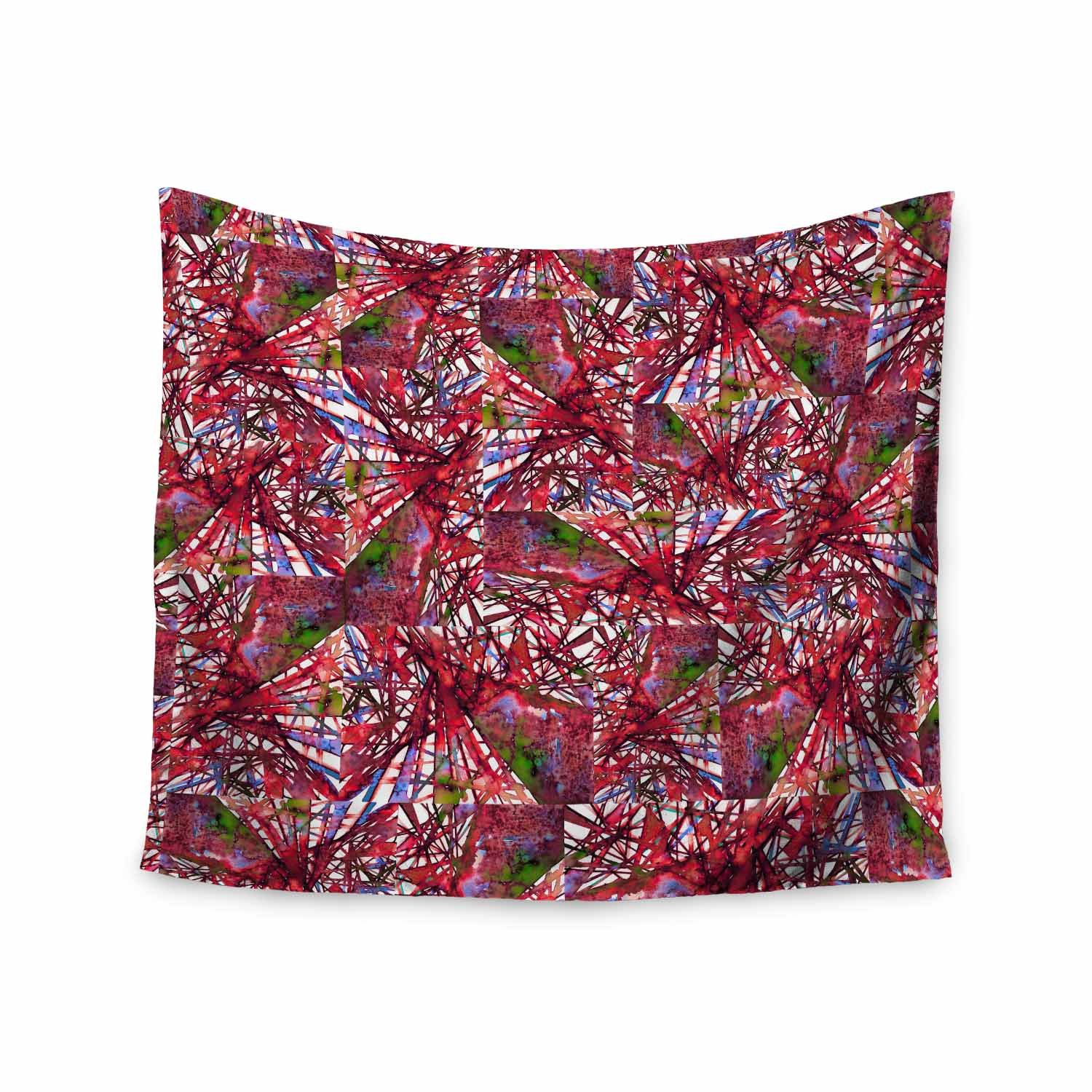 Kess InHouse EBI Emporium New Directions, Very Cherry Red Lavender Pattern Geometric Mixed Media Painting Wall Tapestry