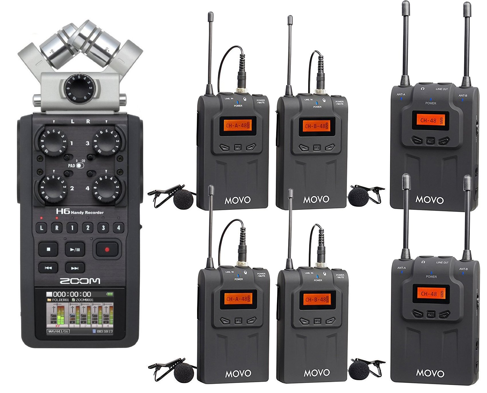Zoom H6 Six-Track Portable Handy Recorder Bundle with Movo UHF Wireless Quad Lavalier Microphone System