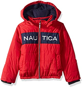 e2af418f6 Nautica Boys' Little Water Resistant Signature Bubble Jacket with Storm  Cuffs, Arthur red,