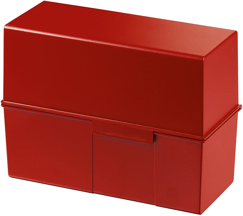HAN 975-17 - Caja para tarjetas indizadoras (capacidad: 450 tarjetas, DIN A5, poliestireno, 228 x 171 x 102 mm), color rojo: Amazon.es: Oficina y papelería