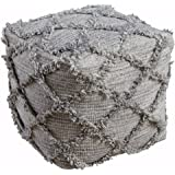 Ashley Furniture Signature Design - Adelphie Wool Pouf - Comfortable Ottoman & Footrest - Natural and Gray