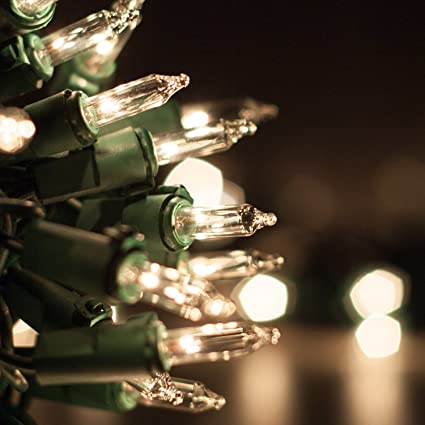 Amazon.com : Clear Mini Lights, 50 White Christmas Lights on Green ...