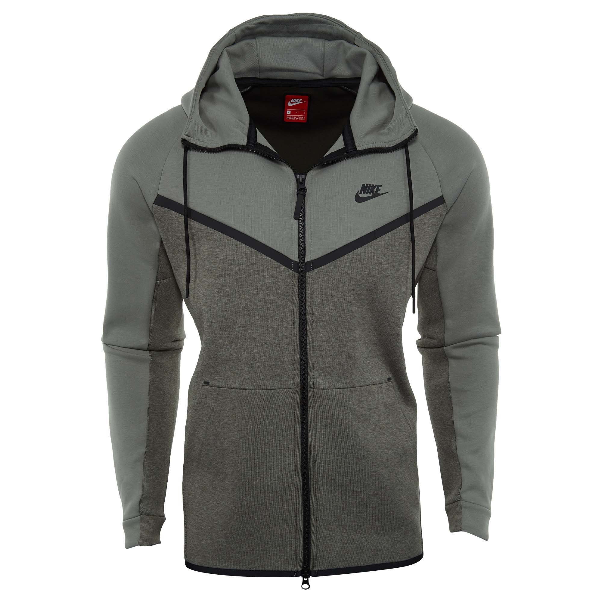 cd6fab5438 Nike Sportswear Tech Fleece Full Zip Up Hoodie Dark Stucco Heather Black  885904 004 (l)