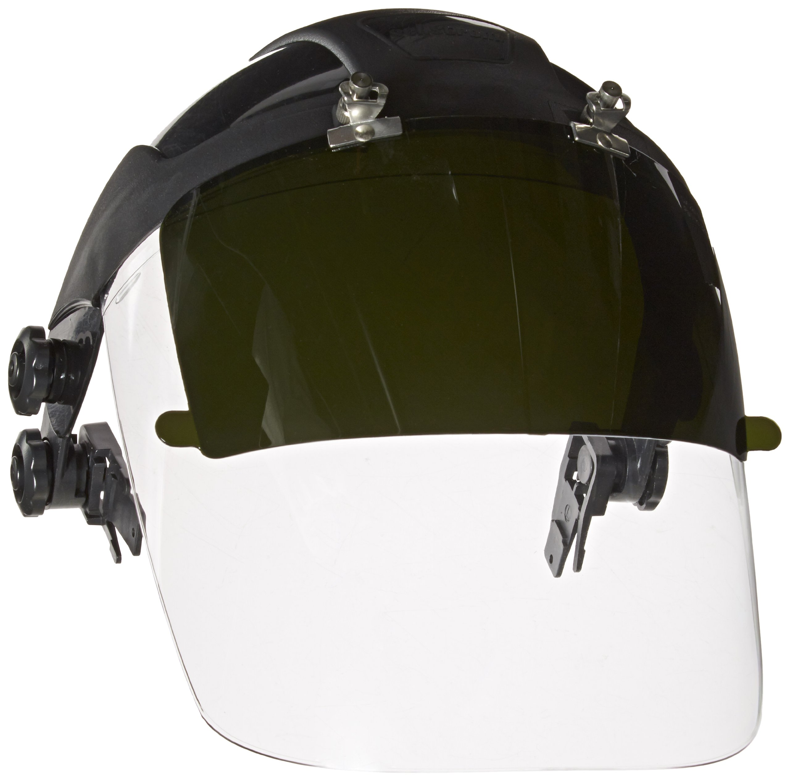 Sellstrom 32162 DP4 Black Crown and Clear Anti-fog Window/Shade 6 IR Flip Front Window Protective Faceshield with Universal Slot Adapter