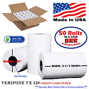 """2 1/4"""" x 50' thermal paper rolls (50 Rolls) Vx520 ICT220 ICT250 FD400 BPA Free Made in USA From BuyRegisterRolls"""