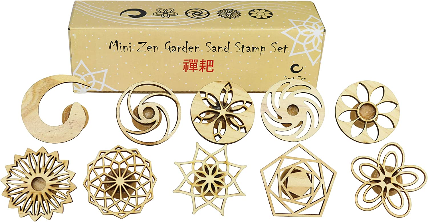 Mini Zen Garden Sand Stamps, 10 Pieces Set - Sandplay Therapy Tool, Zen Garden Accessories Entirely Made of Wood, Hand Stamps, Sand Tray Therapy Miniatures