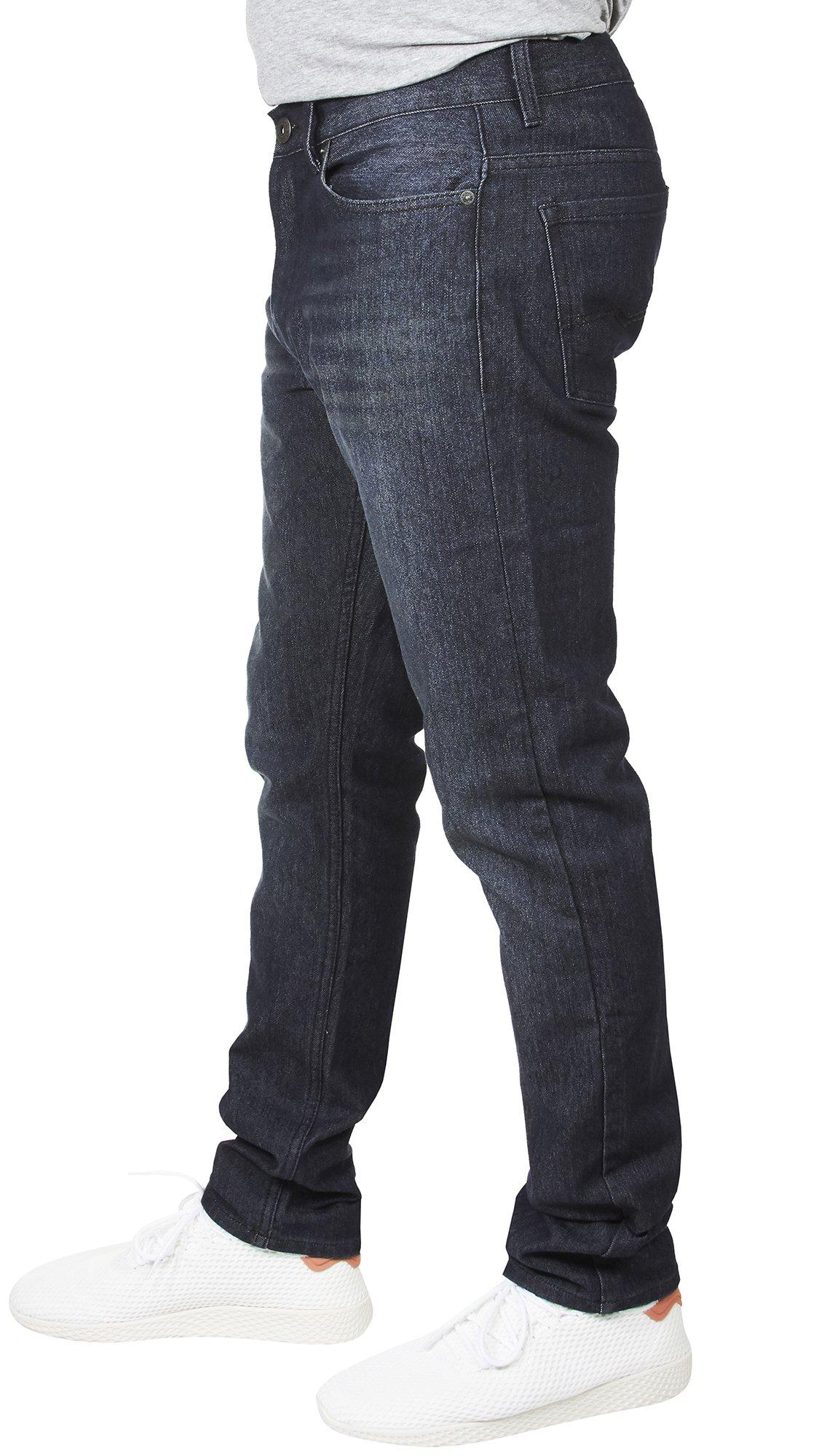 VINTAGE GENES 1891 Mens Stretch Skinny Washed Denim Jeans, Dark Enzyme Blue 34x32 by VINTAGE GENES (Image #2)