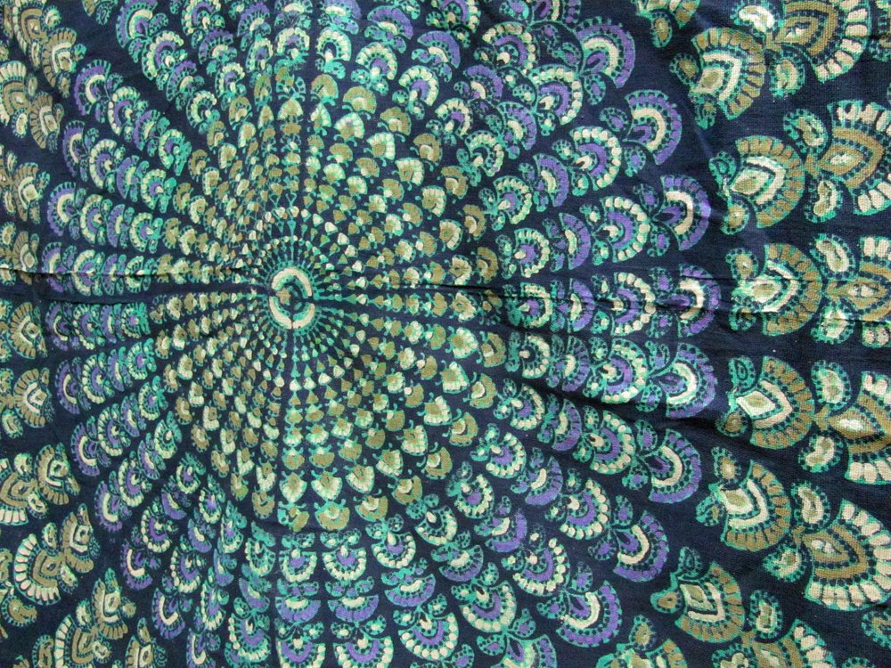 India Navy Blue Handloomed Cotton Mandala Peacock Bedspread Blanket Throw Tapestry 110''x 110'' (King Size) by Rajasthan Cottage (Image #3)