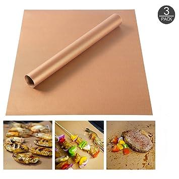 mojidecor alfombrillas de barbacoa Grill & Hornear Mats, Juego de 3 BBQ antiadherente para parrilla